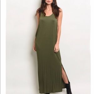 🌺Green loose fit maxi dress